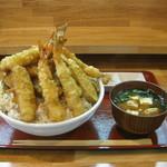 13623518 - 天丼 鬼盛(1000円)+味噌汁(100円)