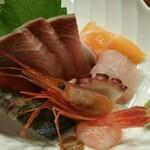 近江町食堂 - 刺身盛合せにもブリが。多分見た目よりも美味しいです