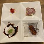 中華バルSAISAI。 - 前菜  合鴨の炙り以外は前回と同じです。       水餃子の形は違うけど^ ^