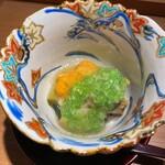 136259046 - 北海道産雲丹と尾鷲の蒸し鮑、天狗茄子に鮑の出汁のジュレ掛け