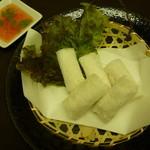 独活家 - 海鮮網春巻き 網目状の米粉の皮がサクサク