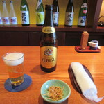 蕎・馳走 岩舟 - ビール・お通し