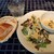 オルジェンティーレ - 季節野菜のスープ、有機野菜とパルミジャーノチーズのサラダ、全粒粉入りの自家製パン
