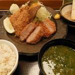 13631951 - 【期間限定】鯵&ヒレカツ定食 ¥1480