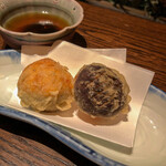 小割烹 おはし - 椎茸と海老真丈の二身揚げ