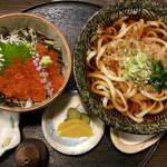 三亀 - 「うどんとミニいくら丼」@1200