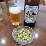 とん一 - 料理写真:ビール+サービス