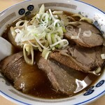 長八 - ねぎチャーシューメン(大盛)+味付け玉子