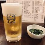 魚一心 - ドリンク写真:サッポロクラシック樽生 中(520円税別)とお通し(300円税別)