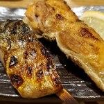 炭火焼専門食処 白銀屋 - 魚串焼きおまかせ2本:とろ塩さばとサーモンハラス
