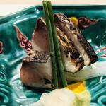 よし澤 - サワラの藁焼き 山葵 大蒜