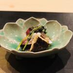 よし澤 - 秋サバの炙り どんこ椎茸 長芋 京都産水菜 ミズ 菊のジュレ