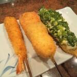 串匠 - 天然海老 うずらの卵オクラウインナー 魚のタルタル葱添え