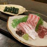 もー吉 - 真鯛刺、特製みそのしそ巻き