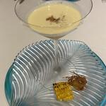 RISTORANTE INCROCI - 宮崎産ゴールドラッシュの冷製スープ、髭のフリット添え