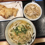 松製麺所 - 料理写真:かけ並+鳥てん+鯛めし