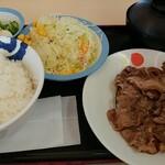 松屋 - 料理写真:牛焼肉W定食ライス大