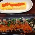 Meat&Cheese YOKUBALU - 明太玉子焼きと海鮮カルパッチョ(サーモンのみ)