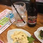 串カツ田中 - ホッピー黒セットとマカロニサラダ