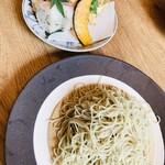 蕎麦切り よしむら - お昼セット ¥1550- のお蕎麦、ざる。 と押し寿司と揚げ物。