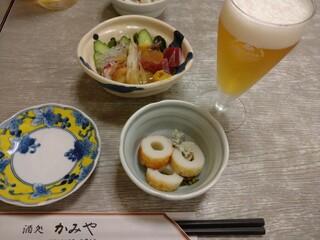 かみや - 名物「ぬたの盛り合わせ」は魚介類に酢味噌。ミョウガがきいてる絶妙なおいしさ。