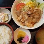 うすいや食堂 - 料理写真:生姜やきにく定食  1050円