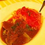 13667263 - トマトソースのパスタと若鶏のオーブン焼き
