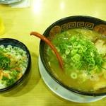みなと軒 - とんこつラーメン+日替丼