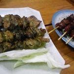 焼き鳥 加賀屋 - 皮(塩)&肝(タレ)