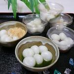 藤ひろ菓舗 - 七夕白玉団子ー七夕の季節には白玉をどうぞ。黒みつ、抹茶みつ、きな粉、おぐら、みたらしの5品。