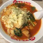 太陽のトマト麺 - 太陽のチーズラーメン(トマト麺) 麺L レンゲ