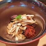 鮨 とかみ - 鰻と松茸の赤シャリ丼、鰻は宍道湖、松茸は北海道