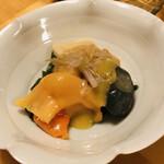 寿司・懐石處 やなぎ - 青柳の辛子味噌合せ 昆布 筍 茗荷 茄子 豆腐