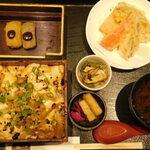 良彌 - 照り焼きおぼろ豆腐重御膳(赤だしのふたを開けた後)