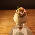 夜パフェ専門店 パフェテリア ミル - 「 fujikoの気持ち 」 (構成)焼きメレンゲ 香草 イタリアンメレンゲ クレーム・ダンジュ ヴァローナ70%チョコレートジェラート 山川牧場ソフトクリーム ジェノワーズ 余市産赤肉プラムのソルベ クランブル チーズクリーム 赤ワインジュレ 余市産赤肉プラムのコンフィチュール
