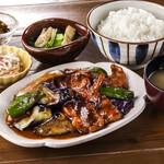 豚と茄子の味噌炒め定食