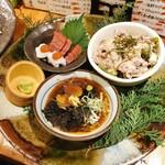 136814791 - 鱧梅肉・揚げナスみぞれ煮・牛しゃぶサラダ