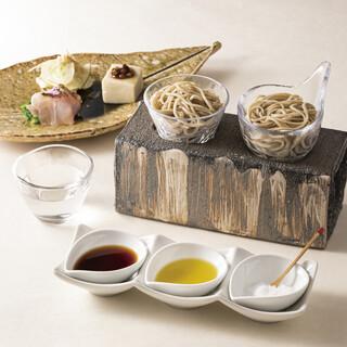 2種類の蕎麦テイスティング「はじまりの蕎麦」は塩やオリーブで