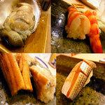 鮨 今井 - 握りと巨大牡蠣。