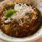 136842539 - チキン(メイン)納豆(トッピング)                       天空(辛さ)スープ大盛り。