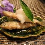 一二三庵 - 前菜 (稚鮎の南蛮漬け)