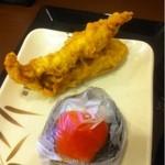 丸亀製麺 - かしわ天+明太子おにぎり