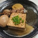 川福 - おでん 牛スジ、豆腐、玉子 各180円