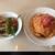 エノテカ ドォーロ プレミオ - 料理写真:地元農家のトマトを丸ごと1個使ったスパゲッティーニ+野菜サラダ