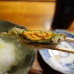 みかわ 是山居 - 2012.07.02:バフンウニの大葉揚げ