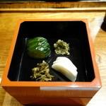 みかわ 是山居 - 2012.07.02:〆の貝柱かき揚げ天丼・香の物
