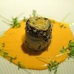 コグスダイニングカグラザカ - 新秋刀魚のベッカフィーコ フレッシュトマトとインカの目覚めのソース