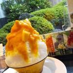 松栄堂 - かき氷と庭の緑のコントラスト!