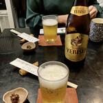 日本橋 やぶ久 - YEBISUで乾杯♪ お通しの蕎麦味噌が実に旨い♬ お通しは100円