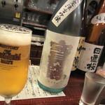 スタンドパピーズバー - 生中プレミアムモルツ&日本酒、各¥300